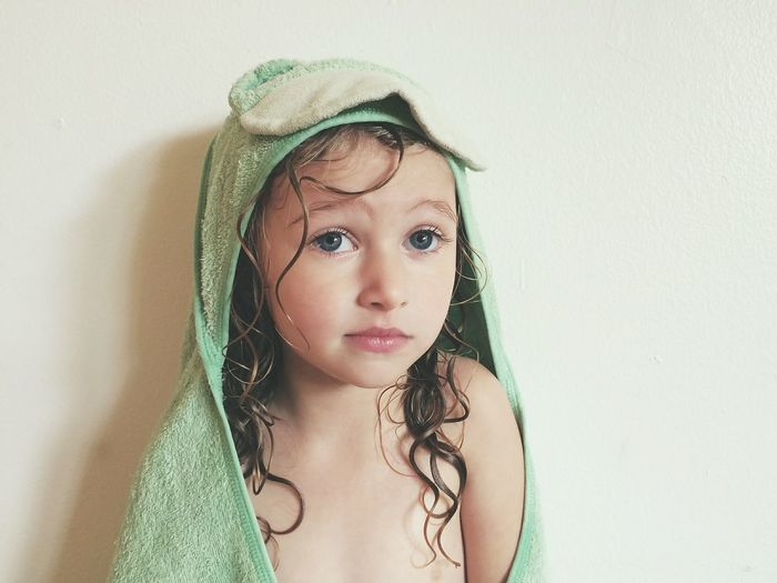 Child Children Only Girls One Girl Only Childhood One Person Portrait Long Hair Front View Looking At Camera Close-up Bath Time Curls Towel