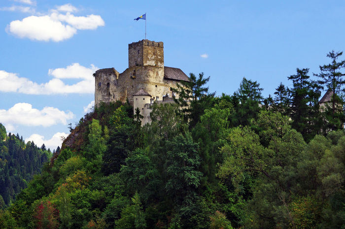 Niedzica Castle in Poland. Carpathians Niedzica Architecture Building Exterior Built Structure Castle Walls Day Forest History Lake Low Angle View Nature No People Outdoors Sky Tree