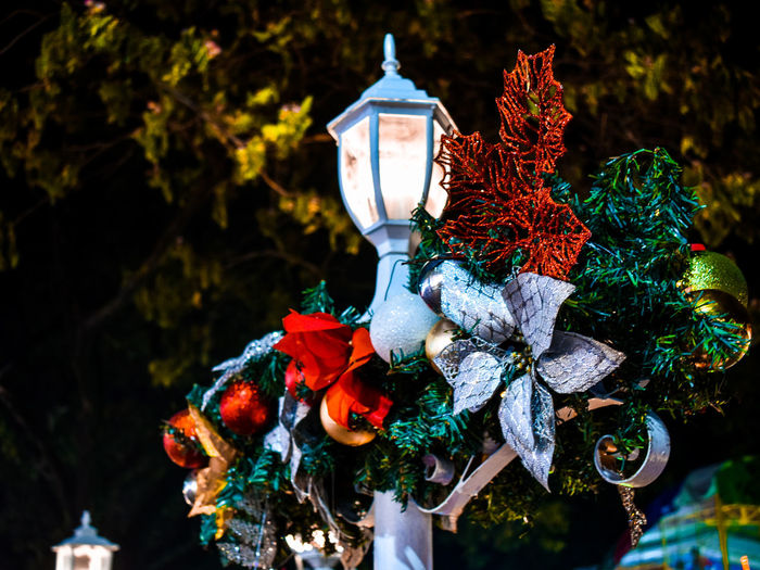 Low angle view of street light with christmas decoration against tree