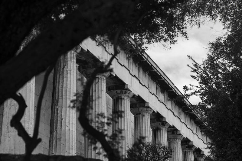 Temple of Hephaestus (Theseion), Athens, Greece Ancient Ancient Architecture Ancient Civilization Ancient Ruins Architectural Column Architecture Athens Branch Building Exterior Built Structure Columns Day Doric Order Full Frame Greece Horizontal Low Angle View No People Selective Focus Sky Temple Of Hephaestus Thisio Tourist Attraction  Tree