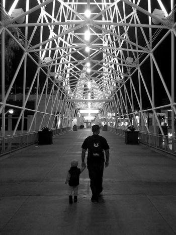 Monochrome Photography Rear View Bridge Outdoors Father & Son Father And Son Full Length Engineering City Life The Pike Long Beach Long Beach California Downtown Long Beach  LG Phone Camera LGphotography
