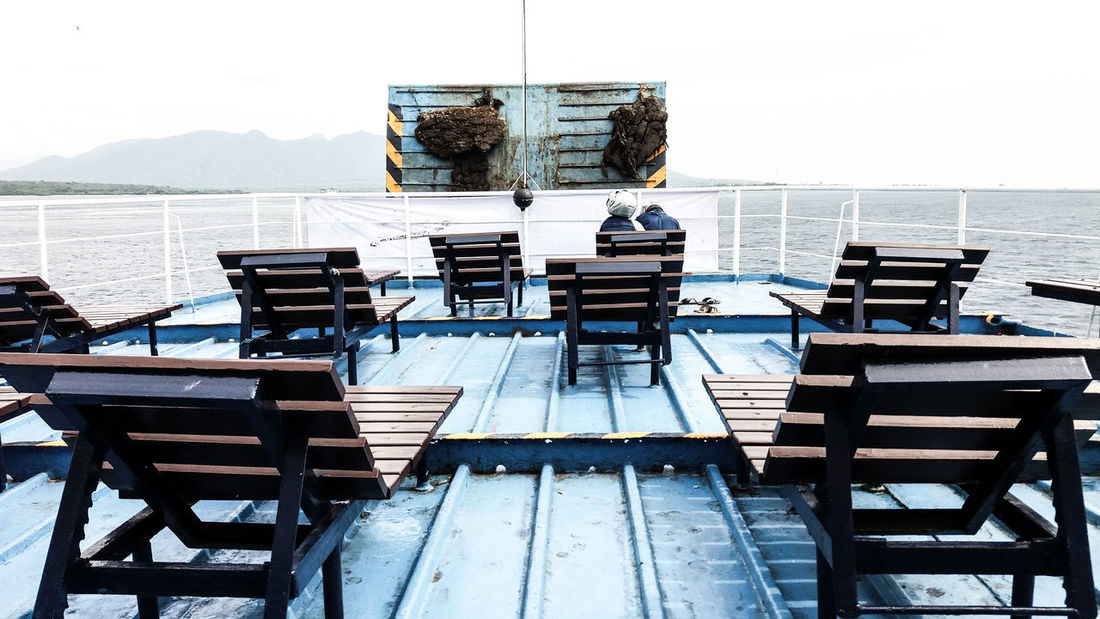 EyeEmNewHere Trip Boat Boatdeck Journey Outdoors Sea Day Sky Water EyeEm Gallery Photography Eyeemmarket Traveling Travel Photography Boat Deck Throwback Go Higher