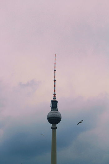 Low angle view of communications tower