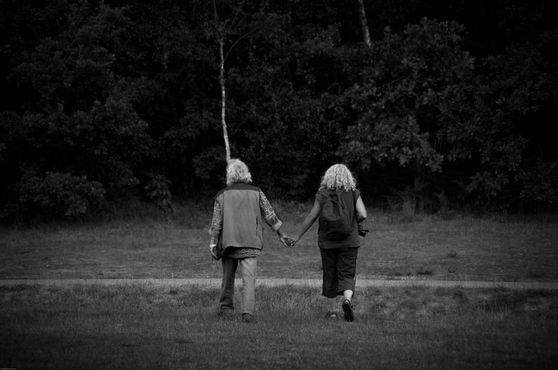 EyeEm Best Shots - Black + White EyeEm Nature Lover EyeEm Best Shots Two People Togetherness Rear View Full Length Tree Childhood Real People Grass Outdoors Nature Friendship Adult