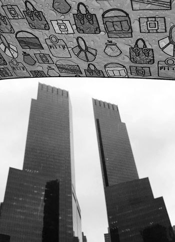 Columbus Circle from under my umbrella on a rainy day New York New York City Manhattan Black & White Blackandwhite Blackandwhite Photography IPhoneography Rain Contrast Eye4photography  Lookingup Reflection Buildings