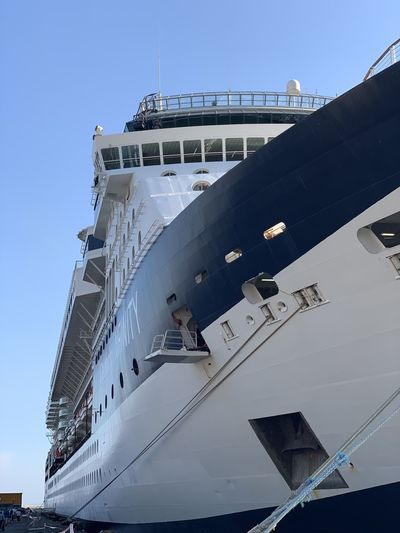 Low angle view of ship against sky