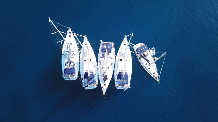 Directly Above Shot Of Sailboats In Sea