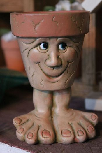 Planter Pot Funny Cute Survived The Blizzard because he was in the potting shed ! Funny Face No Body just having fun with my canera because a hot shot photographer once told me that is what its all about - enjoyment and having fun 😊 Works for me ! !😁😊