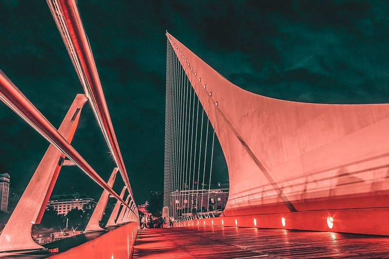 EyeEm Selects Night Architecture Outdoors Business Finance And Industry No People Built Structure Bridge - Man Made Structure Red Steel Water Sky Buenos Aires, Argentina  Puente De La Mujer
