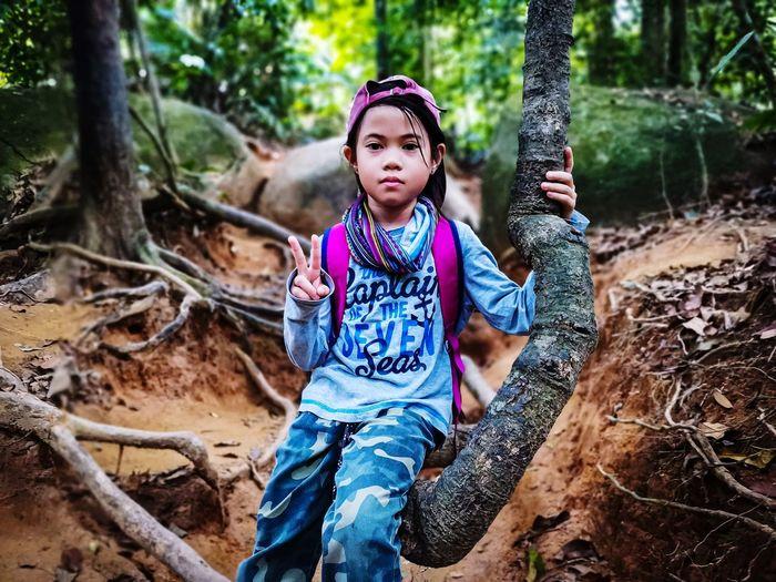 Full length of girl in forest