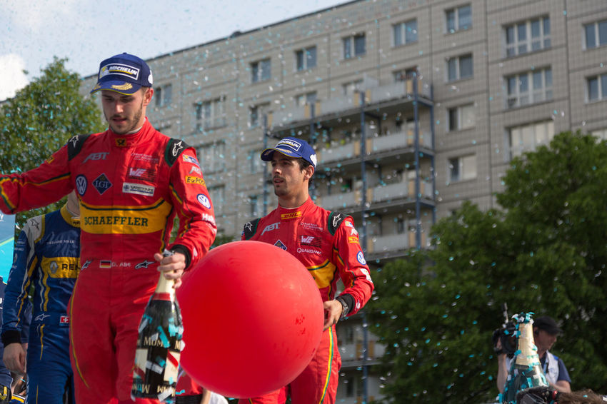 German racing driver Daniel Abt and Brazilian racing driver Lucas di Grassi at the E-Prix FIA Formula E race car Championship Award Ceremony Award Ceremony Formula E Formula E 2016 Racing Winners Daniel Abt E-prix Formula E 2016 Formula E Racing Formulae Lucas Di Grassi Motor Racing Pilot Race Car Race Driver Racing Drivers Sport Sports Uniform Winner