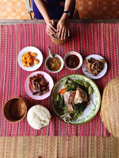 High Angle View Served Traditional Food On Table