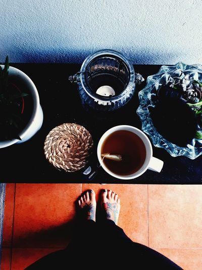 Food And Drink Real People Coffee - Drink Lifestyles Day Table Indoors  Tattooedgirls Feet Selfie Candle Herbal Tea Aloevera Flowers,Plants & Garden First Eyeem Photo