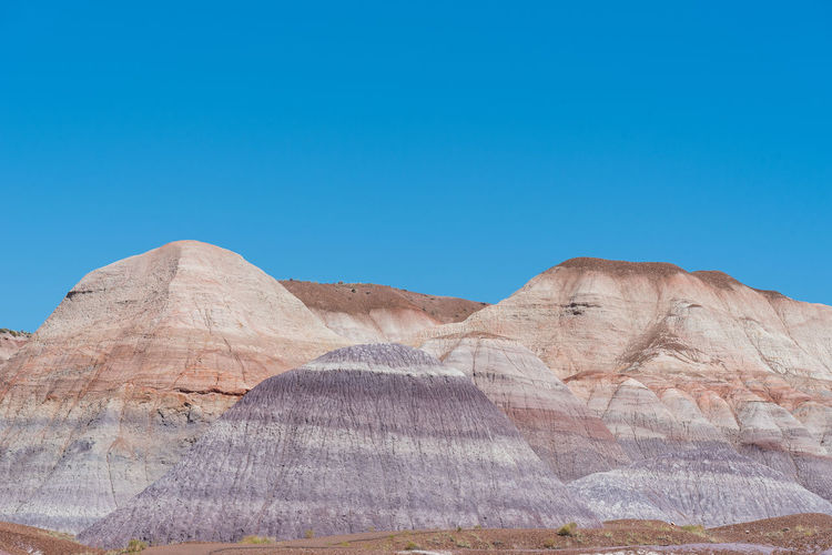 Landscape of purple badlands at blue mesa in petrified forest national park in arizona