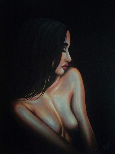"A dear good friend provided this gorgeous photo and by all means loved to paint this, and here is the result , thanks very much MAGED ,you are awesome my friend, oil on canvas 18""_24"" Beautiful Woman Adults Only Young Adult Women Beauty My Art Collection Original Art Art, Drawing, Creativity Fredom Drawing ArtWork Oil Painting Fine Art My Portrait Collection Nude_model Art Model Adult Friendship. ♡   Love♥ Koi with My Best Friends ❤"