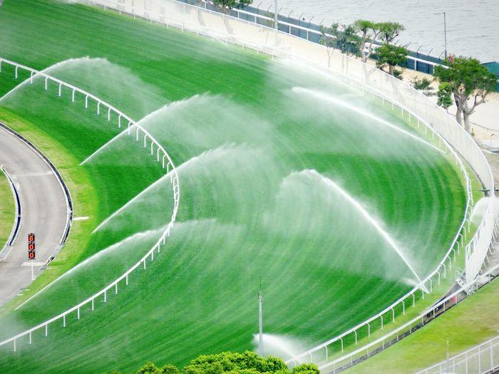 Aerial Shot Racecourse Watersplash Spraywater Spray Water Green Grass