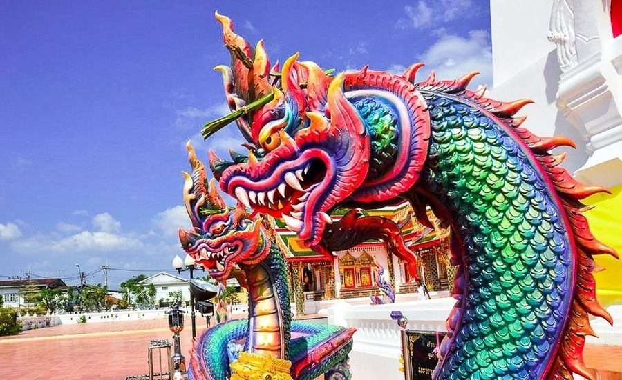 Animal Representation Art And Craft Chinese Dragon Day Dragon Multi Colored Sculpture Statue