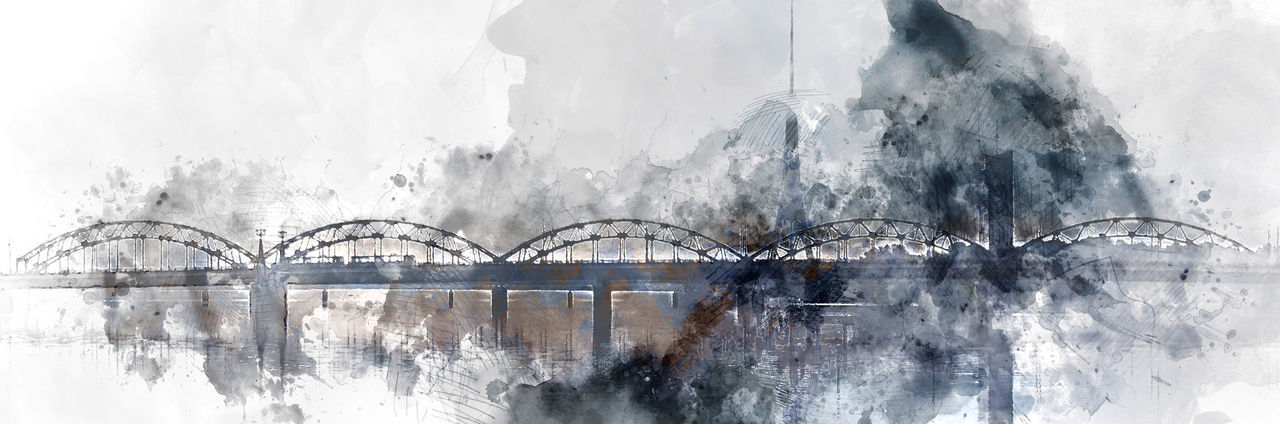 Riga Latvia Illustration Watercolor Digital Digitally Computer Generated Panorama Panoramic Banner Horizontal Background Altered Painting Drawing Art ArtWork Abstract Graphic Picture Technology Creative Railway Bridge City Cityscape Skyline Town Architecture Daugava River Capital City Baltic State Urban Scene Northern Europe View Landmark Toned Blue Gray Silhouette Touristic Tourism Travel Destination Winter Cold Horizontal Outdoors Sightseeing Beautiful Landscape Tower Reflected