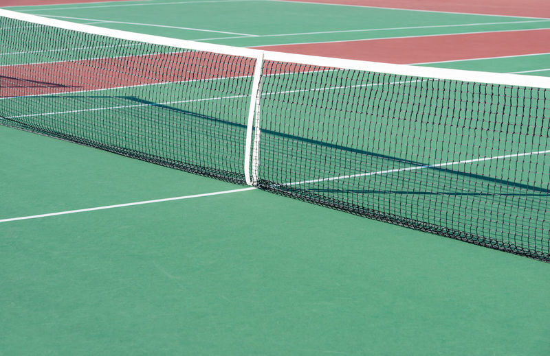Tennis court with various lines in the detail view