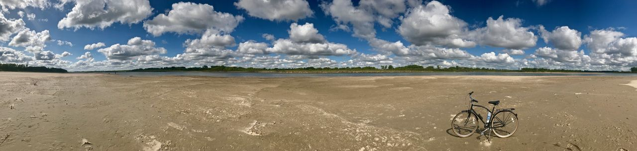 Biking on the river bed. Bicycle Cloud - Sky Blue Sky And White Clouds Land Water Nature Scenics - Nature Cycling Panoramic Outdoors Beach Environment Mission Day Saskatchewan Canada South Saskatchewan River Canada River Bottom Corman Park, Saskatchewan, Canada