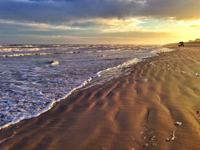 Sunset on the beach Sunset Sunsets Beach Beachphotography Seaside Seashore Golden Hour Outdoors Waves
