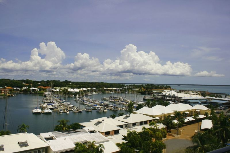 Boats in a marina in Cullen Bay, Northern Territory, Australia Cullen Bay Marina Moored Boats Travel Travel Photography Architecture Beauty In Nature Building Exterior Built Structure Cloud - Sky Day Nature Nautical Vessel No People Outdoors Scenic View Sea Sky Travel Destination Water