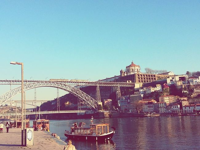 This city is so genuine 🙌💜 Good Morning Porto PortoLovers Oportocool Ribeira Do Porto Douro  Douroriver River Blue Sky Skyporn D Luís I Bridge Architecture Outdoors No People Peaceful Lovephotography  Love Life Photography Picoftheday Perspective City Day First Eyeem Photo