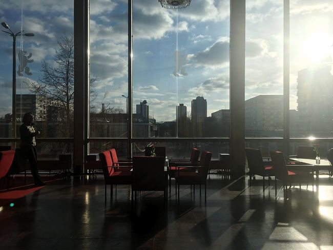 Berlinale 2018, last day. Window Chair Table Indoors  Reflection Sunlight Day