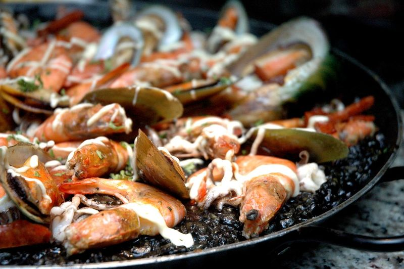 Close-up of seafood in cooking pan
