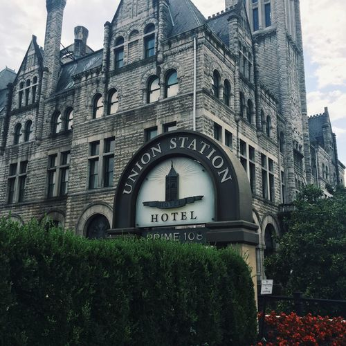 Hotel Building Exterior Castle Architecture Built Structure Growth City Plant History Outdoors Façade Day Green Color Entrance In Front Of City Life No People First Eyeem Photo