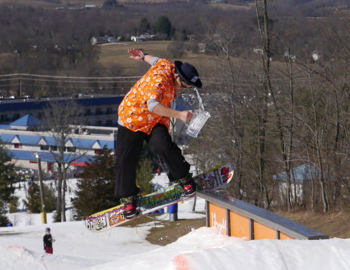 King Of The Mountain Park Rail Snowboard Snowboarder Snowboarding Tricks Winter Winter Sports Alternative Fitness