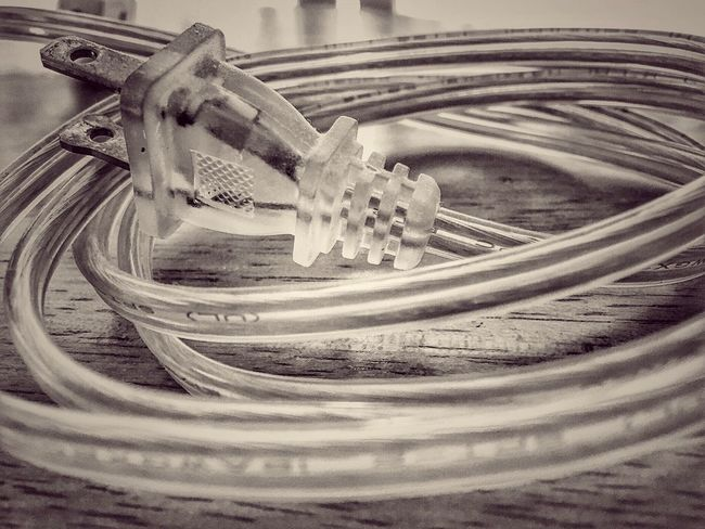 Indoors  Day No People High Angle View Close-up Lucite Chord Electric Chord Blackandwhite Monochrome Vintage Selective Focus Focus On Foreground Detail Man Made Object Part Of Spiral Repetition Abstract Still Life