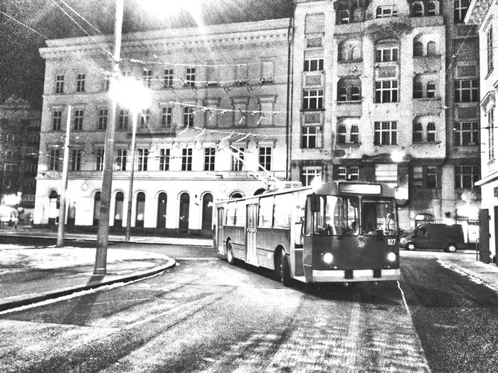 Architecture Built Structure Public Transportation No People City Snowless Houses Trolleybus Russian Trolleybus ZIU-9 Night Urban Landscape