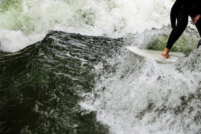 Wave riding on the wild water of the river