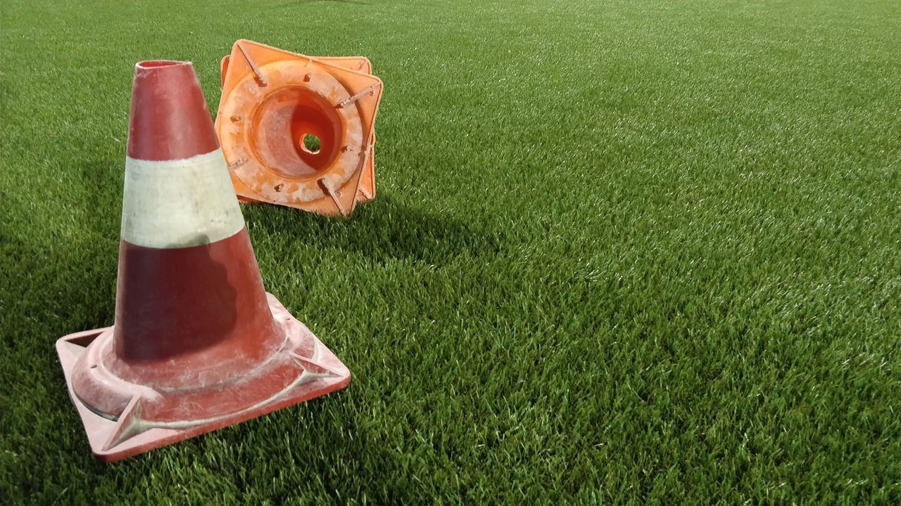 grass, orange color, green color, no people, high angle view, red, traffic cone, outdoors, nature, day, playing field, freshness, close-up