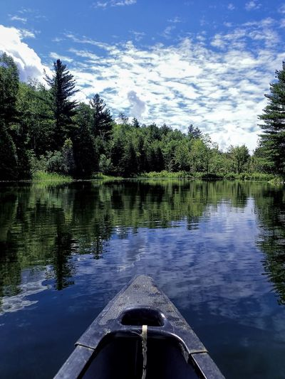Live a life you love Canoeing Summertime At The Lake Beauty In Nature Cloud - Sky Cottage Life Day It Doesn't Get Any Better Than This Lake Live A Life You Love Mix Yourself A Good Time Nature No People Outdoors Reflection Scenics Sky Tranquility Transportation Tree Water