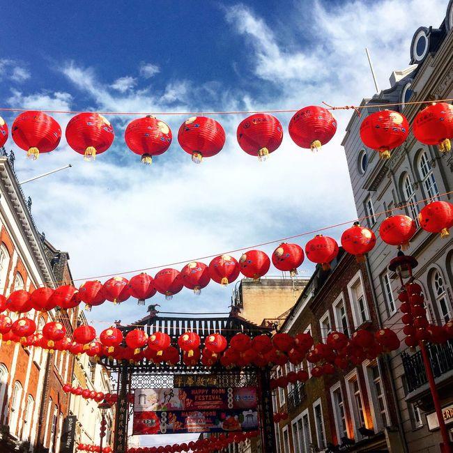 Lanterns Chinatown London Weekend Weekendvibes Red Blue Sky Lookingup Visiting Walking Around Nofilter Break Relax Fun Friends Postcode Postcards