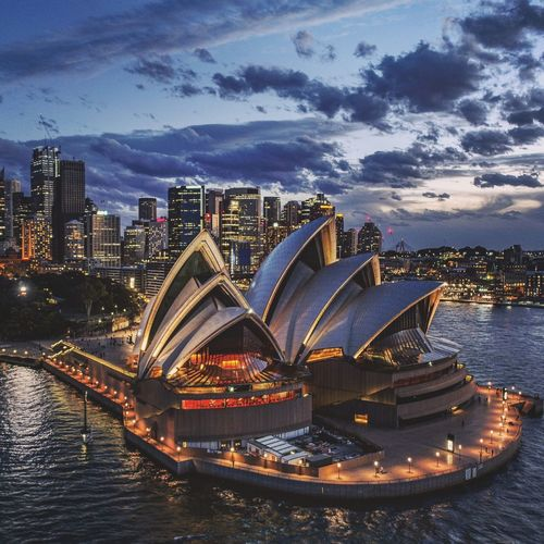 SOH Drone  Aerial Sydney Australia Operahouse Sydney Opera House City Cityscape Urban Skyline Illuminated Modern Skyscraper Sea Water High Angle View Arts Culture And Entertainment Harbor