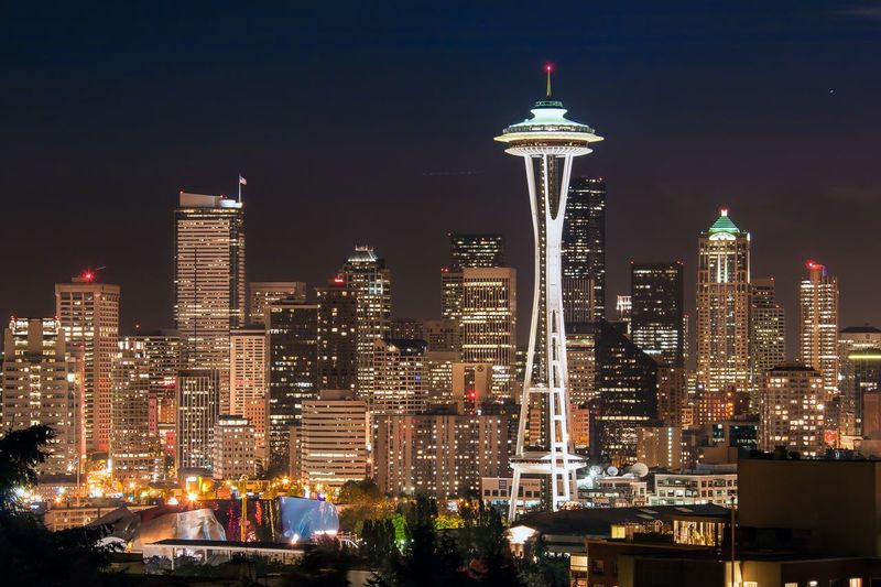 Seattle Skyline @ Night Long Exposure Space Needle Building Exterior Architecture Built Structure City Illuminated Night Office Building Exterior Building Skyscraper Sky Cityscape Tall - High Tower Modern Urban Skyline Travel Destinations Office Tourism No People