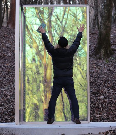 不思議な扉 冬の空気 Tree Sky Japan ヴァンジ彫刻庭園美術館 Japan Photography カガミ ドアの向こう 箱根湯本 ポーラ美術館 彫刻 箱根 日本 冬の空 樹 見上げる 来宮神社