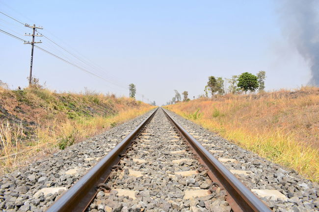 Beauty In Nature Clear Sky Day Diminishing Perspective Illustrated Railway Line Landscape Nature No People Outdoors Rail Transportation Railroad Tie Railroad Track Railway Track View Railway Tracks Sky The Way Forward Transportation Tree
