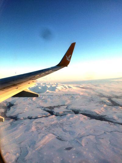 Flight over mountains