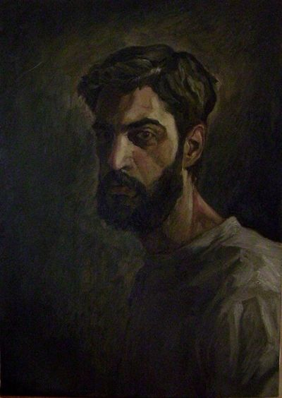Selfportrait Farsam Sangini Contemporary Art Painter Painting Art Exhibition