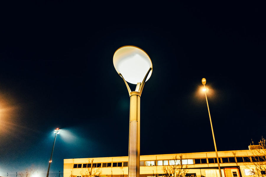 Architecture Basel Mulhouse Building Building Exterior Built Structure City Clear Sky Copy Space Electric Light Electricity  Flughafen Flughafen Basel High Section Illuminated Lamp Post Lighting Equipment Low Angle View Moon Night No People Outdoors Sky Street Light