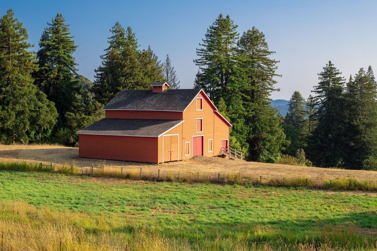 Red barn off
