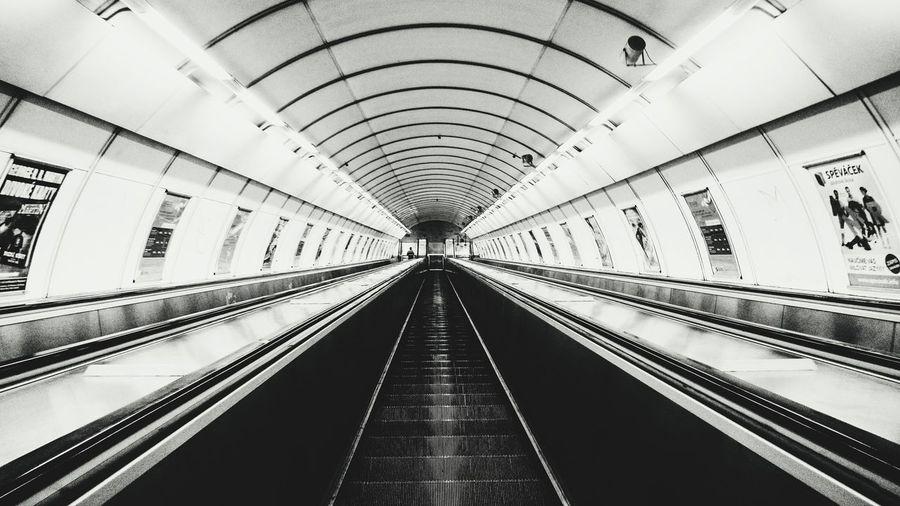 Metro Metro Station Stairs Long Blackandwhite Black White Alone Alone Time Prague Praga Nightphotography Mid Hradčany Hradčanska BIG Way To Go Home Way EyeEm Photography Photo Single Life  Scary Nightshot 2016