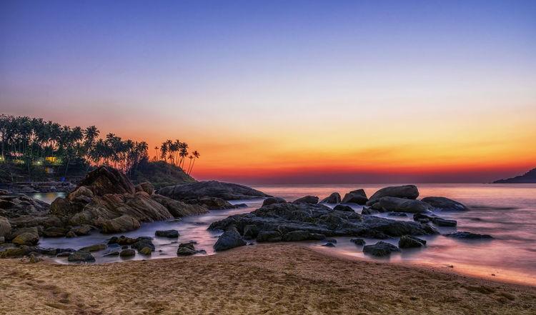 Beach Sun Sunset Dawn Sea Wave Sky Skyporn Palm Long Exposure