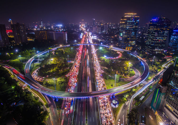 Traffic jam during rush hour in semanggi interchange overpass in the night time.