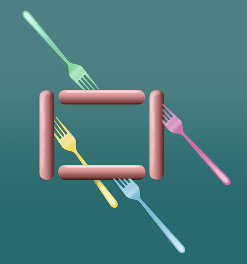 Footlong hotdogs are the topic of this colorful image of hotdogs, buns and plastic picnic forks. This is an illustration. Fork HotDog Bun Footlong Footlong Hotdog Illustration Picnic For One Plastic Fork