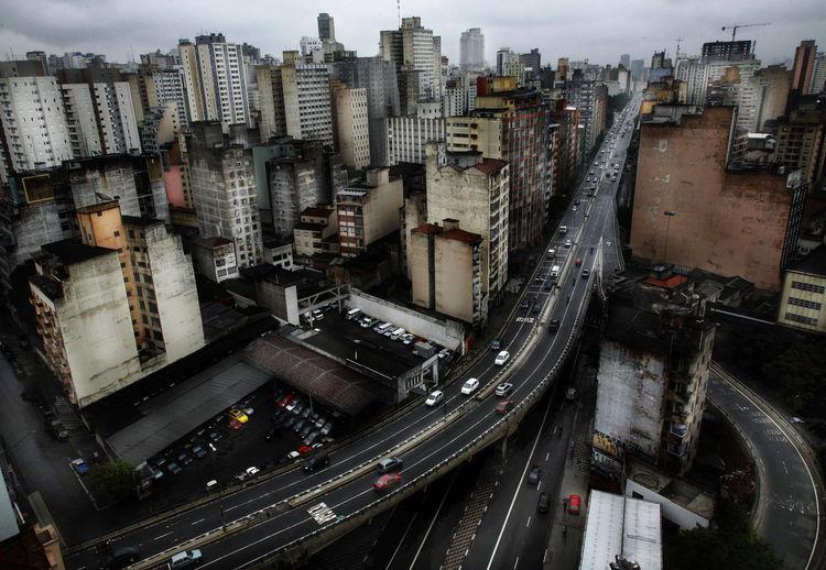 cityscapes of sao paulo Sao Paulo - Brazil São Paulo Minhocão Bridge Dark Cityscape City